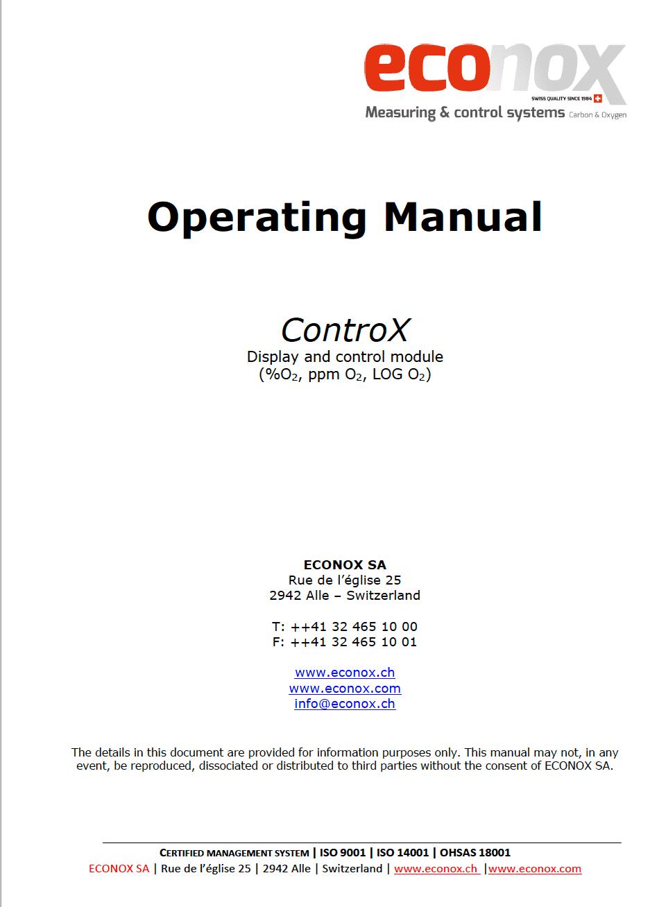 Mode d'emploi controX